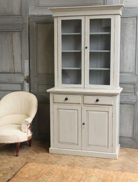 Vintage Antique Grey Painted Kitchen Dresser Cupboard Glazed Cabinet