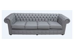 Thumb chesterfield 4 seater settee silver grey leather sofa 0
