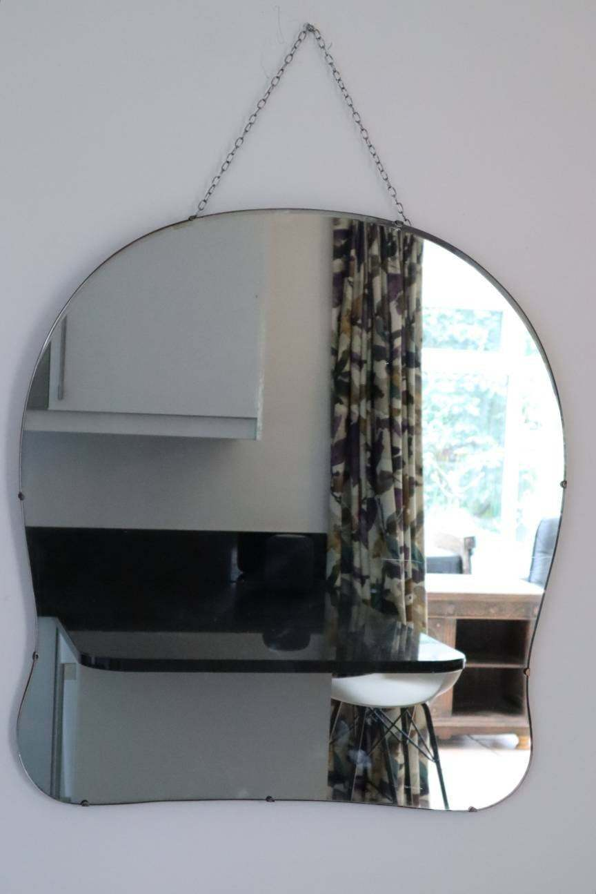 Extra Large Art Deco Frameless Mirror Vintage Cloud Shaped Vintage Wall Mirror Vinterior