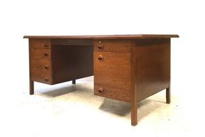 Thumb rare vintage mid century 1950s edward wormley dunbar mid oak executive desk 0
