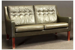 Thumb vintage retro danish rud thygesen 2 seater olive green leather sofa 1969 0