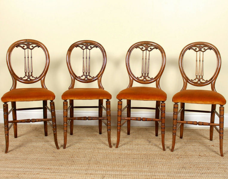 4 Antique Dining Chairs Mahogany Bentwood Carved