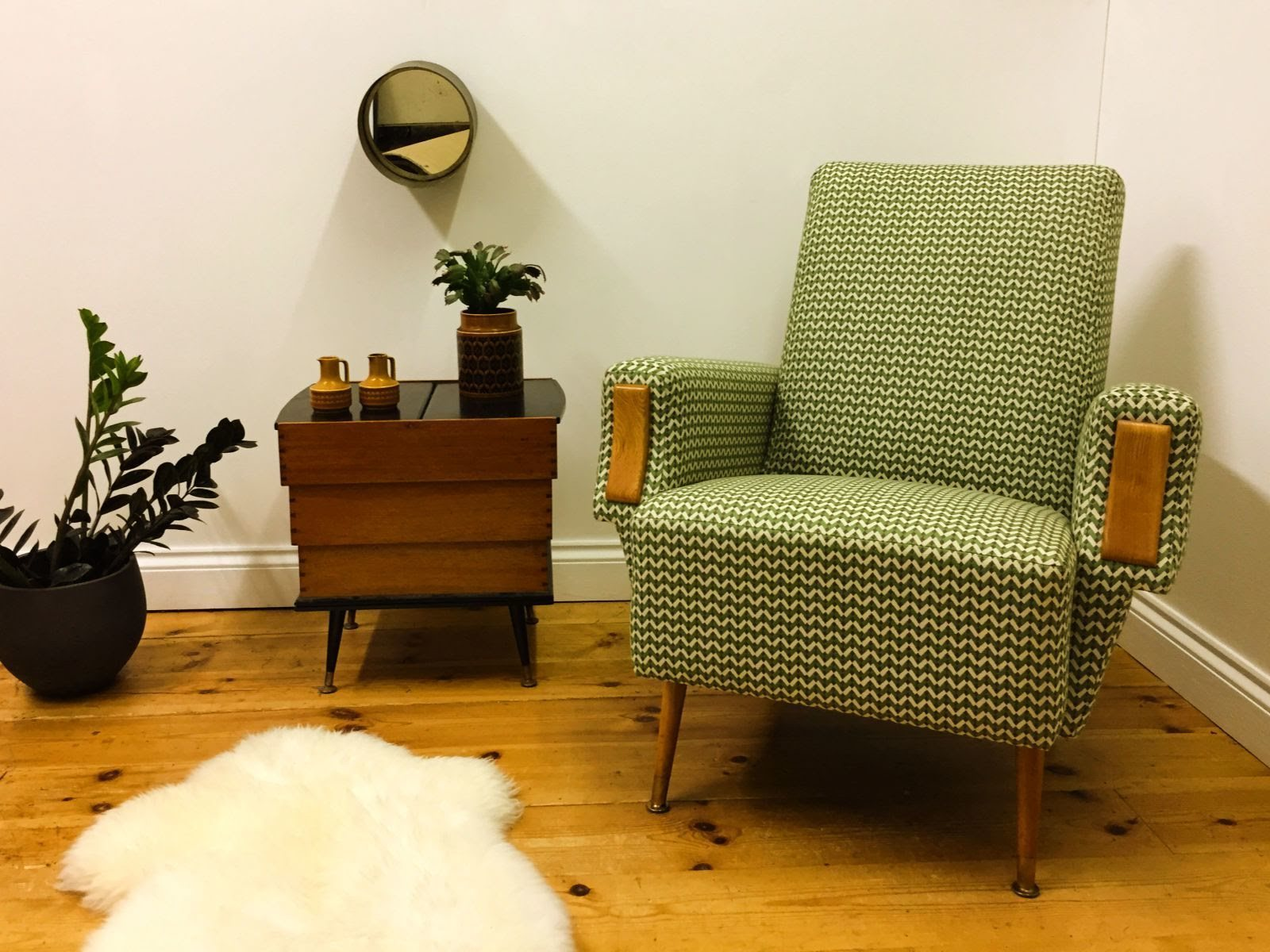 Picture of: Scandinavian Vintage Mid Century Modern Armchair With Striking Geometric Upholstery And Unusual Ash Arm Facings Unknown But Of Scandinavian Origin Vinterior