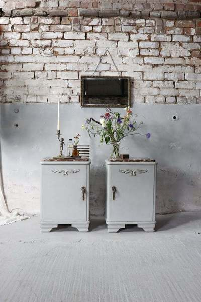 Beautiful Matching Pair Of Marble Topped Bedside Cabinets In Zinc Grey
