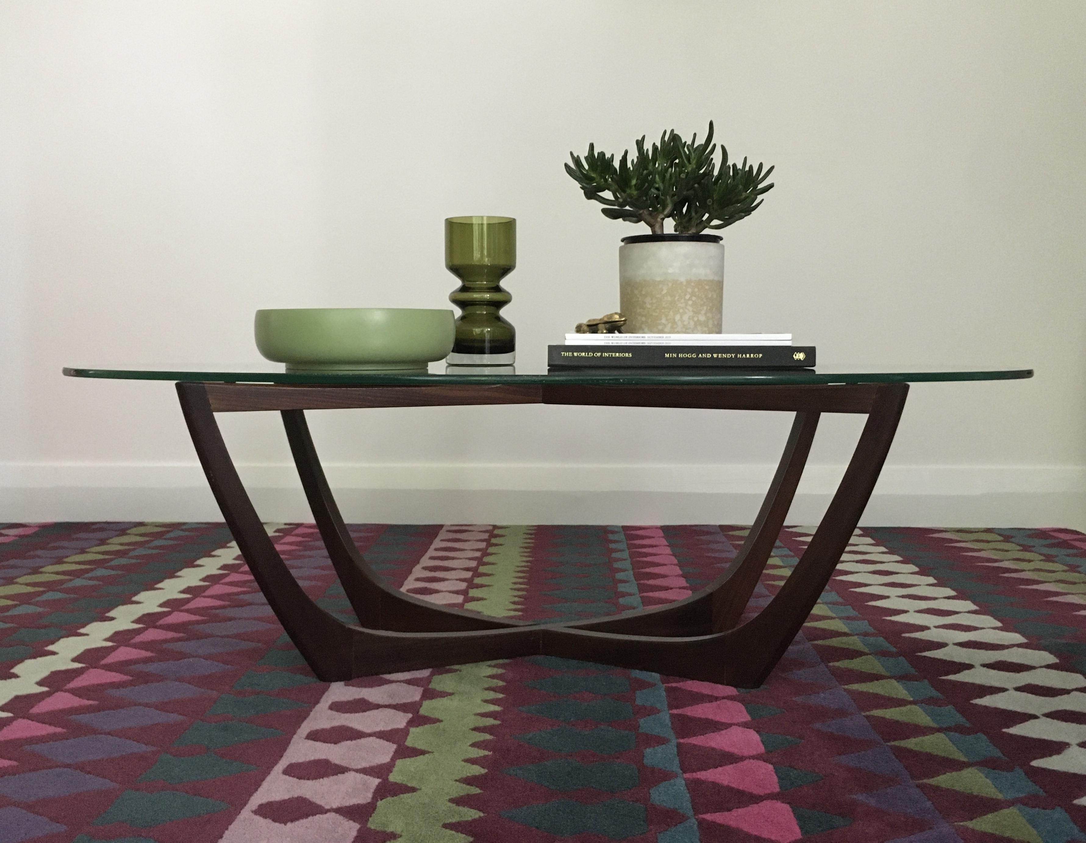 fabulous retro mid century teak floating glass coffee table 50 s 60 s vintage