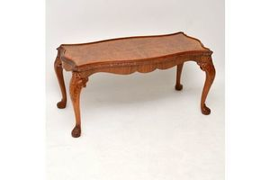 Thumb antique queen anne style burr walnut coffee table 1930s 0