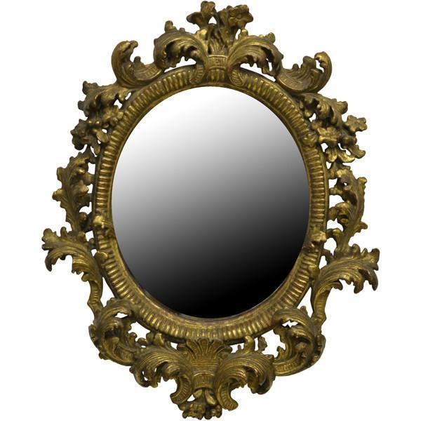Small Giltwood Oval Mirror, Florentine, Late 19th Century