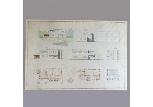 Original Architectural Drawing Of Modernist Bauhaus House Plans 1934