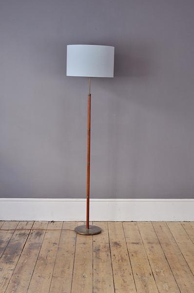 Teak Floor Lamp With Brass Ring Details