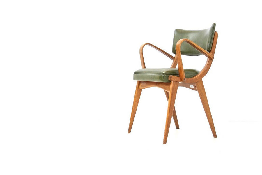 Vintage 1950s Modernist Bentwood Arm Chair In Green