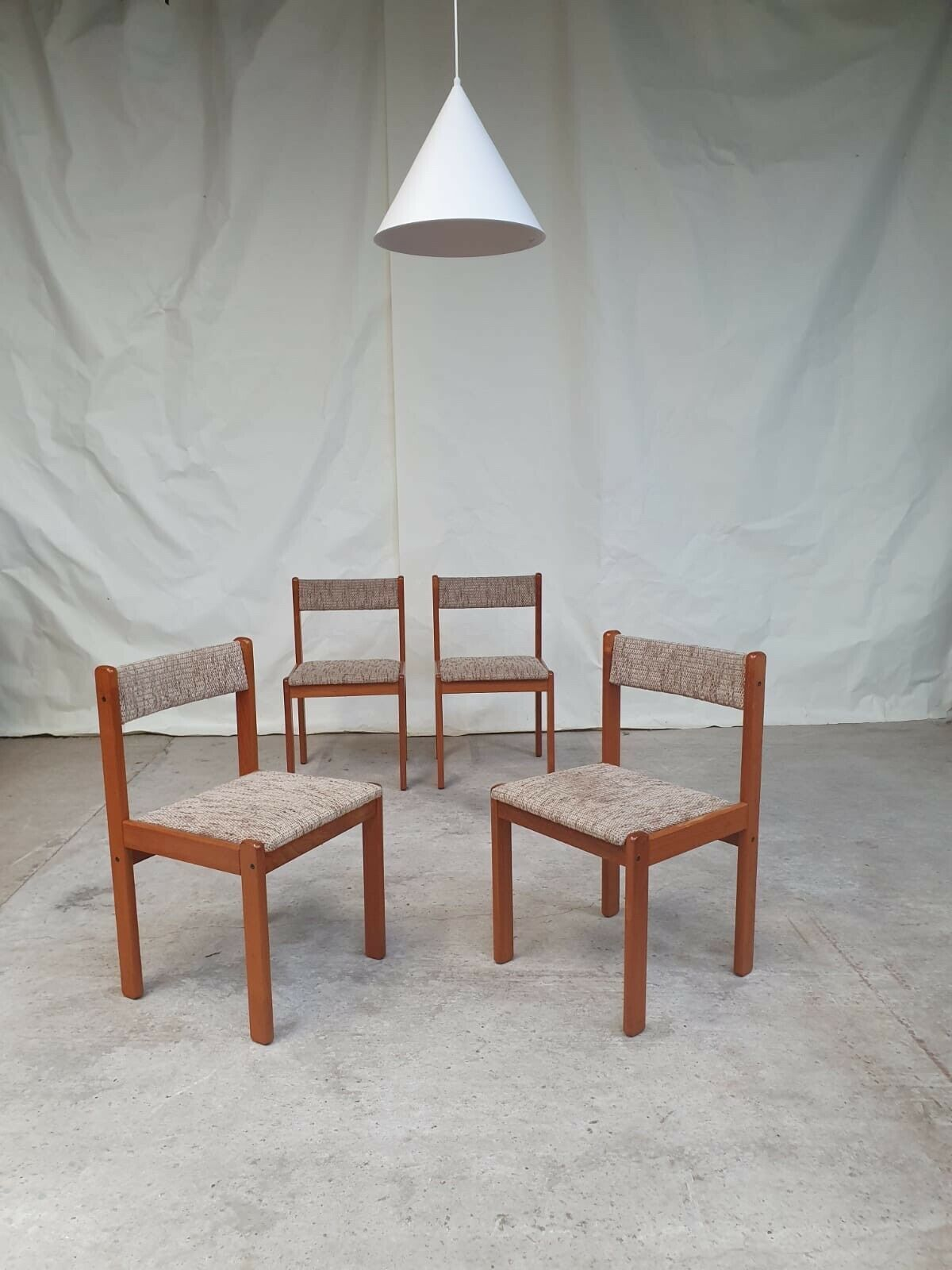 Stunning Vtg Mid Century Set Of 4 Danish Teak Dining Chairs Scandinavian Retro Vinterior