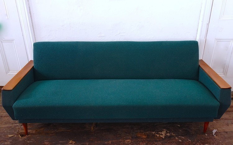 German 1960s Bottle Green Daybed