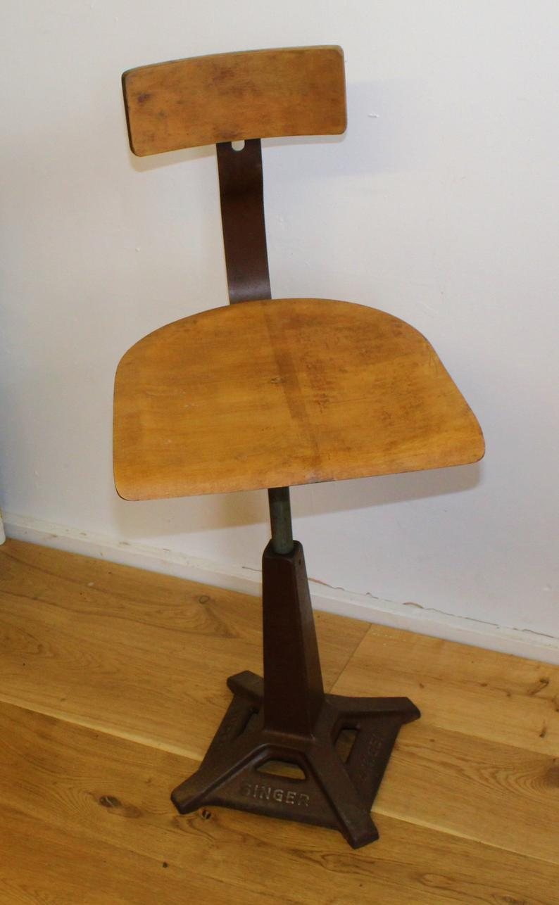 Industrial Singer Swivel Office Chair Wooden Desk Kitchen Factory Metal Vintage Retro Antique Machinist Singer Vinterior