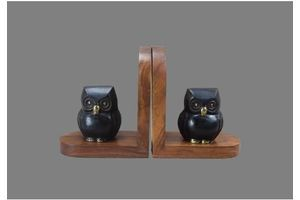 Thumb vintage french pair of owl bookends brass and wood book ends owl paperweight desk office bookcase decoration 0