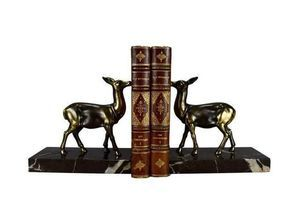 Thumb art deco pair of bookends french antique hind book ends on black marble doe paperweight desk office bookcase decoration 0
