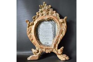 Thumb carved gilt wood photo frame antique french 18th century picture frame chic wedding gift 0