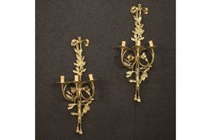 Thumb pair of italian gilt wall lamps in bronze and brass 0