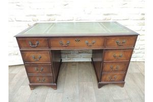Thumb 3 part pedestal desk leather top 0