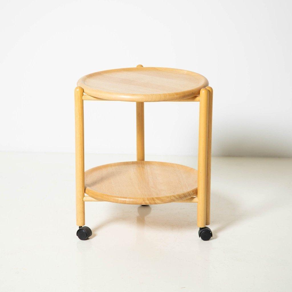 Round Wood Bar Cart Nightstand On Wheels Vinterior