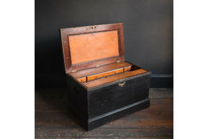Thumb victorian cabinetmaker s tool chest antique ebonised trunk with toolbox interior 0