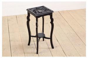Thumb antique vintage art nouveau ebonized carved wood plant stand side table 0
