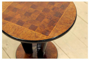 Thumb antique art deco round burr walnut chess games console side table 0