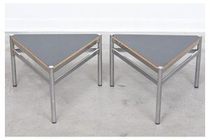 Thumb vintage pair of triangle tables with welded frames 0