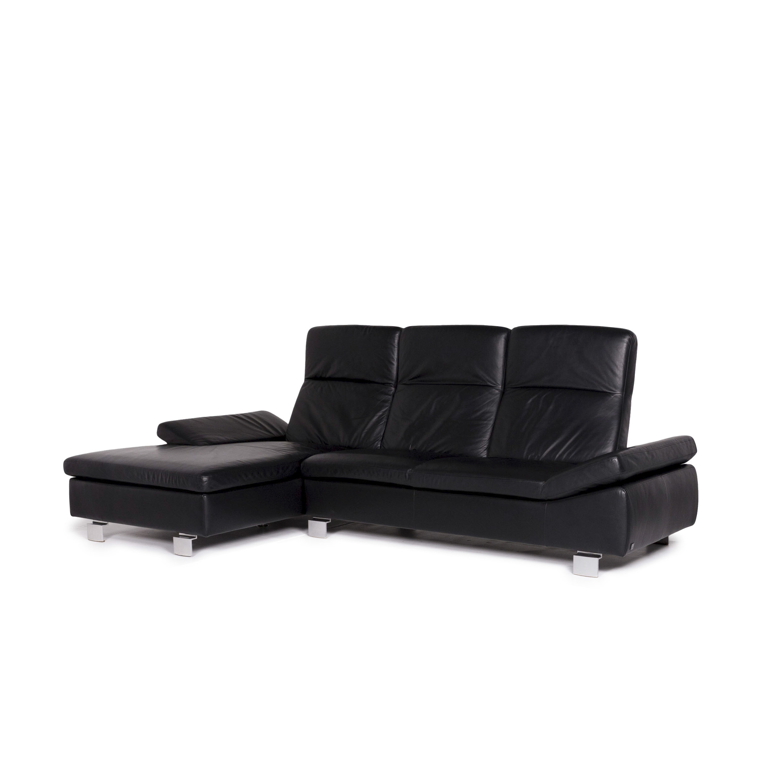 Willi Schillig For You Leather Corner Sofa Black Sofa Function Couch #11198