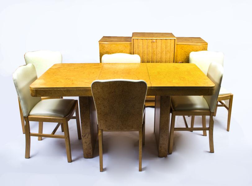 Antique Art Deco Birdseye Maple Dining Suite Set C.1930