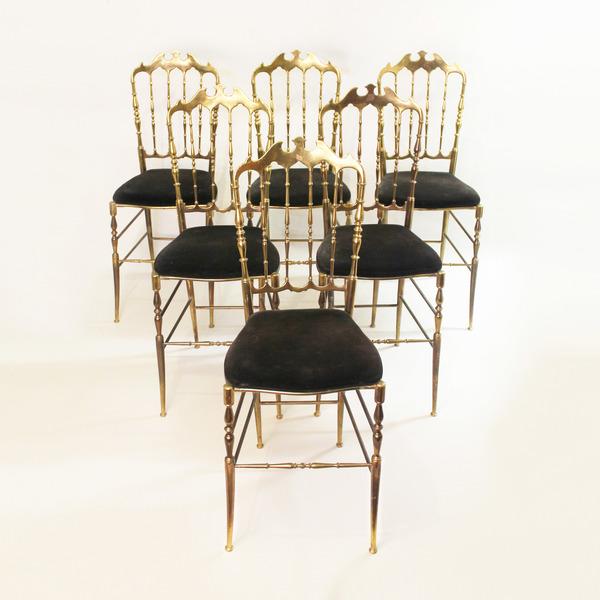 Rare Complete Set Of 6 Chiavari Brass Chairs In Original Black Velvet Upholstery