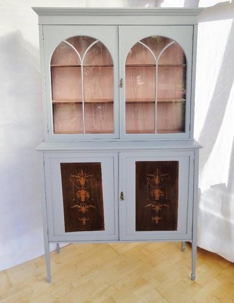 Antique Edwardian Mahogany Painted Inlaid Display Cabinet