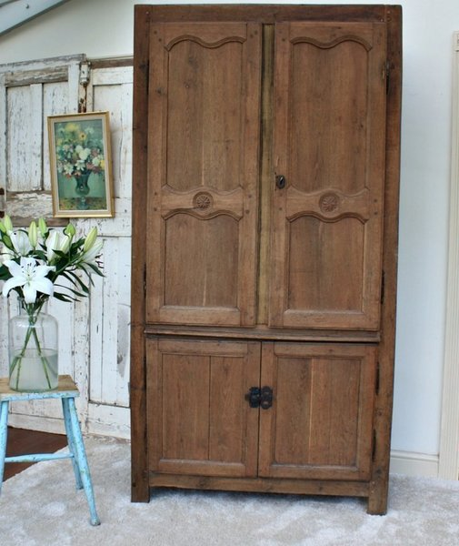 French Oak Antique Armoire / Housekeepers Cupboard