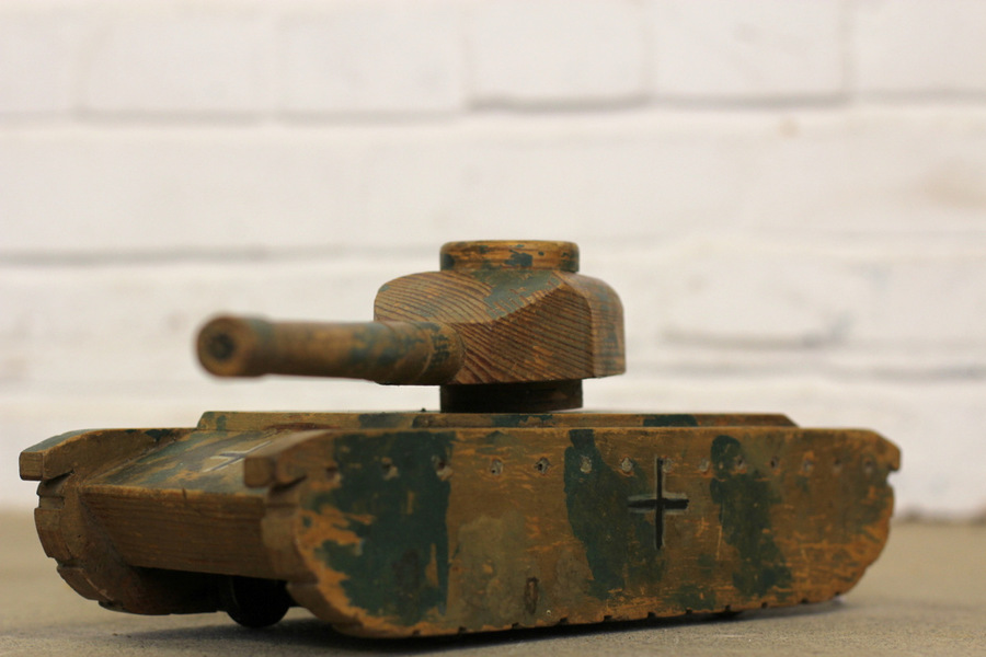 Ww2 Trench Art Wooden Panzer Tank Circa 1940s