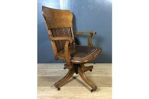 Thumb antique oak office chair swivel chair adjustable brown 0