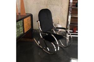 Thumb mid century modern chrome base and black velvet italian rocking chair circa 1970 0