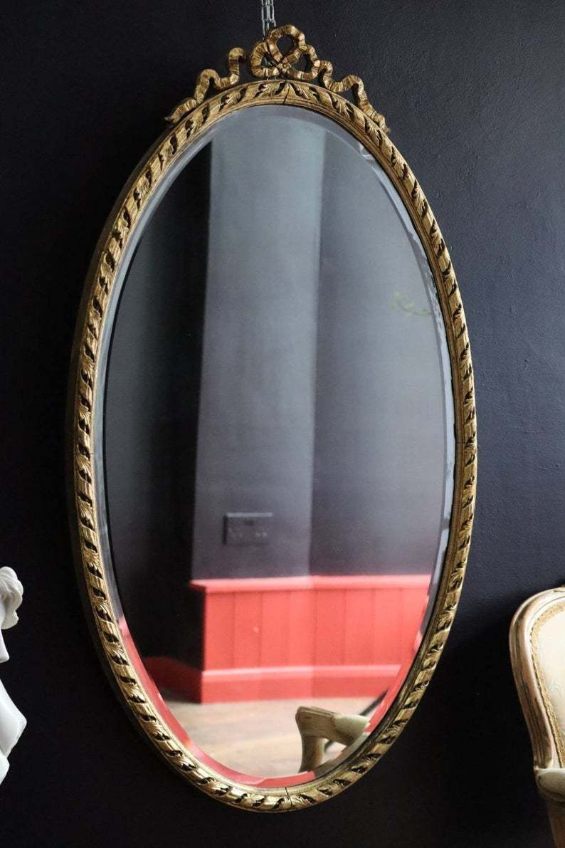 Antique Gold Full Length Large Wall Mirror With Decorative Wooden Frame And Large Bow Could Be A Dramatic Entry Way Mirror Vinterior