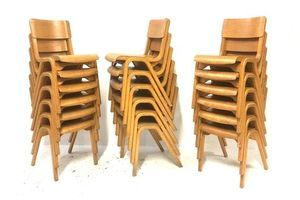 Thumb 6 x vintage mid century industrial 50s blonde james leonard esavian stacking dining chairs b 0