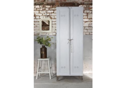 Tall Vintage Painted Locker, Linen Or Coat Cupboard In Pale Grey   Matching Pair Available