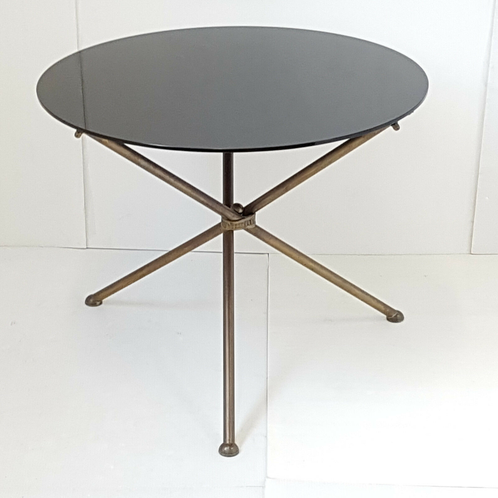 Coffee Table Side Table Round Gueridon Vintage 50s In Brass Glass Vinterior