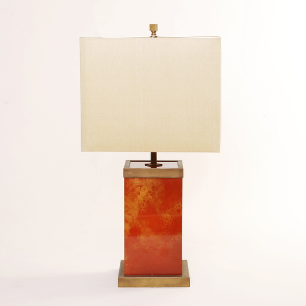 Signed Romeo Rega Lacquered Brass Table Lamp