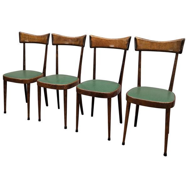 Set Of Four 1950s Italian Mid Century Modern Dining Room Chairs Vinterior