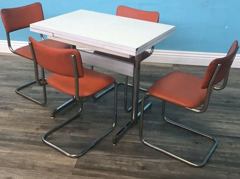 Retro Formica Kitchen Table And Chairs Vintage Mid Century Vinterior