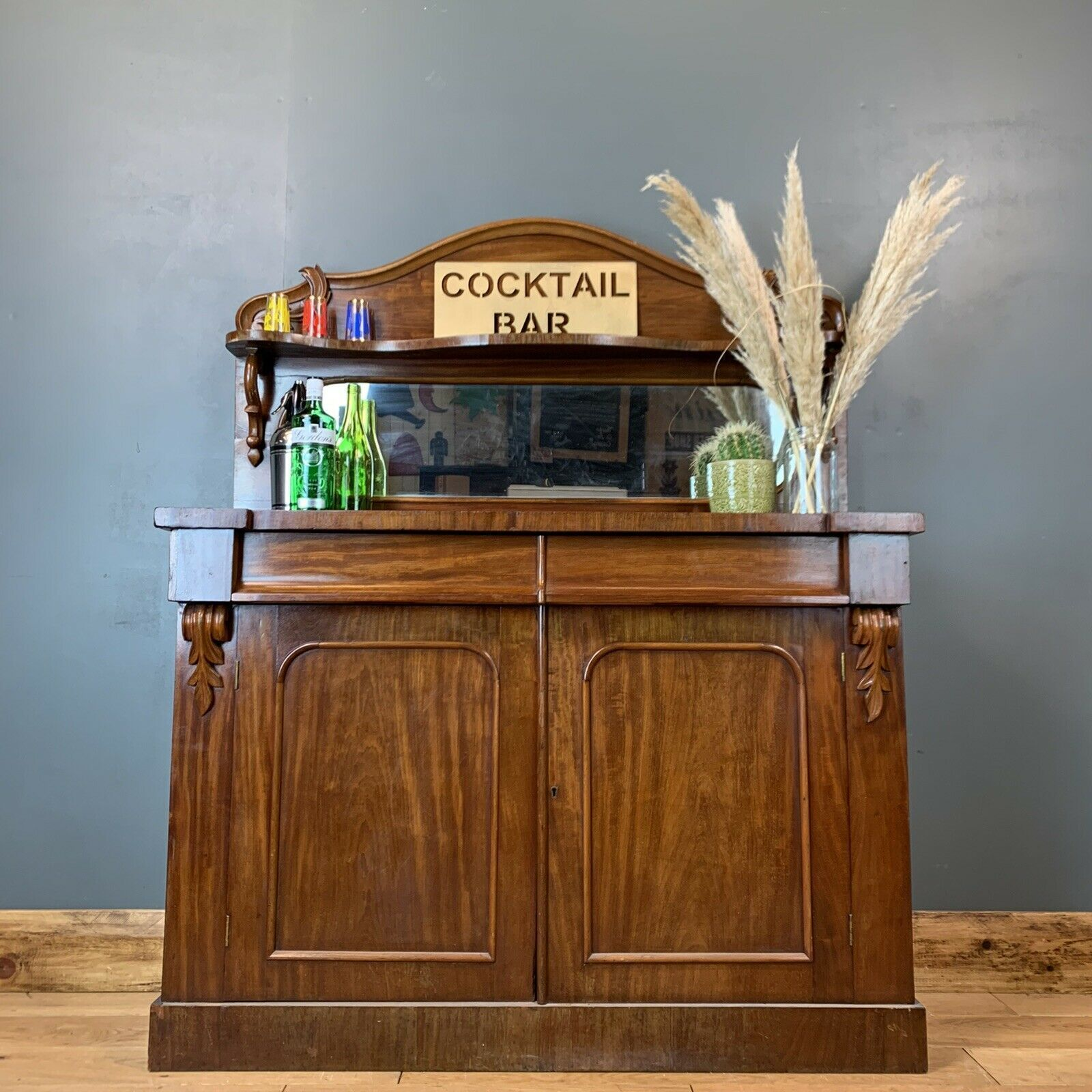 Picture of: Antique Sideboard Buffet Server Chiffonier Mahogany Mirrored Cupboard Drawers Vinterior