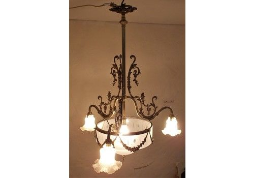 Antique Bronze/Cut Glass Ceiling Light, 3 Arms,French Napoleon III,