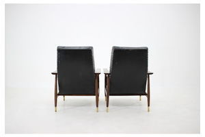 Thumb 1960s pair of leather armchairs with stools 0