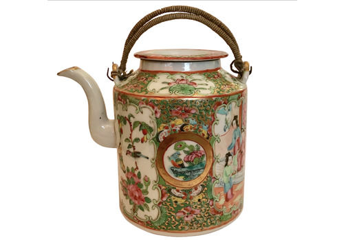 19th Century Antique Chinese Export Canton Famille Rose Medallion Teapot