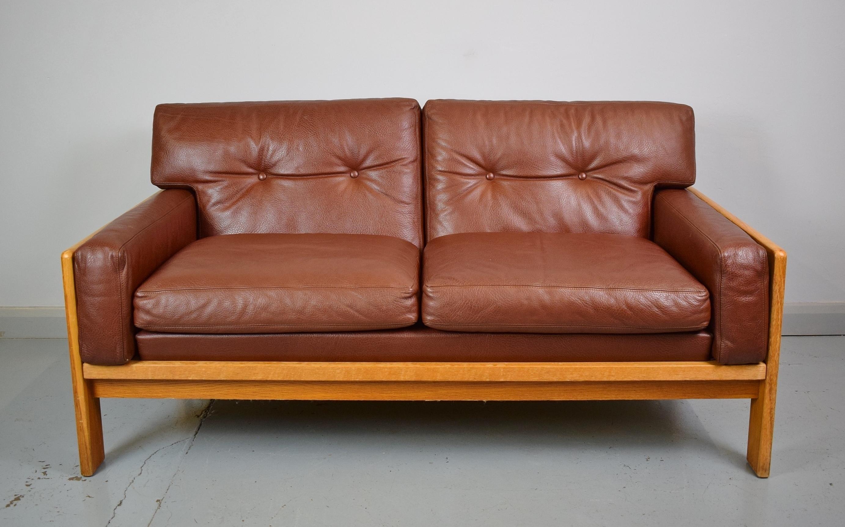 Admirable Mid Century Retro Danish Cognac Leather 2 Seat Sofa Loveseat Oak Frame 1970S Machost Co Dining Chair Design Ideas Machostcouk