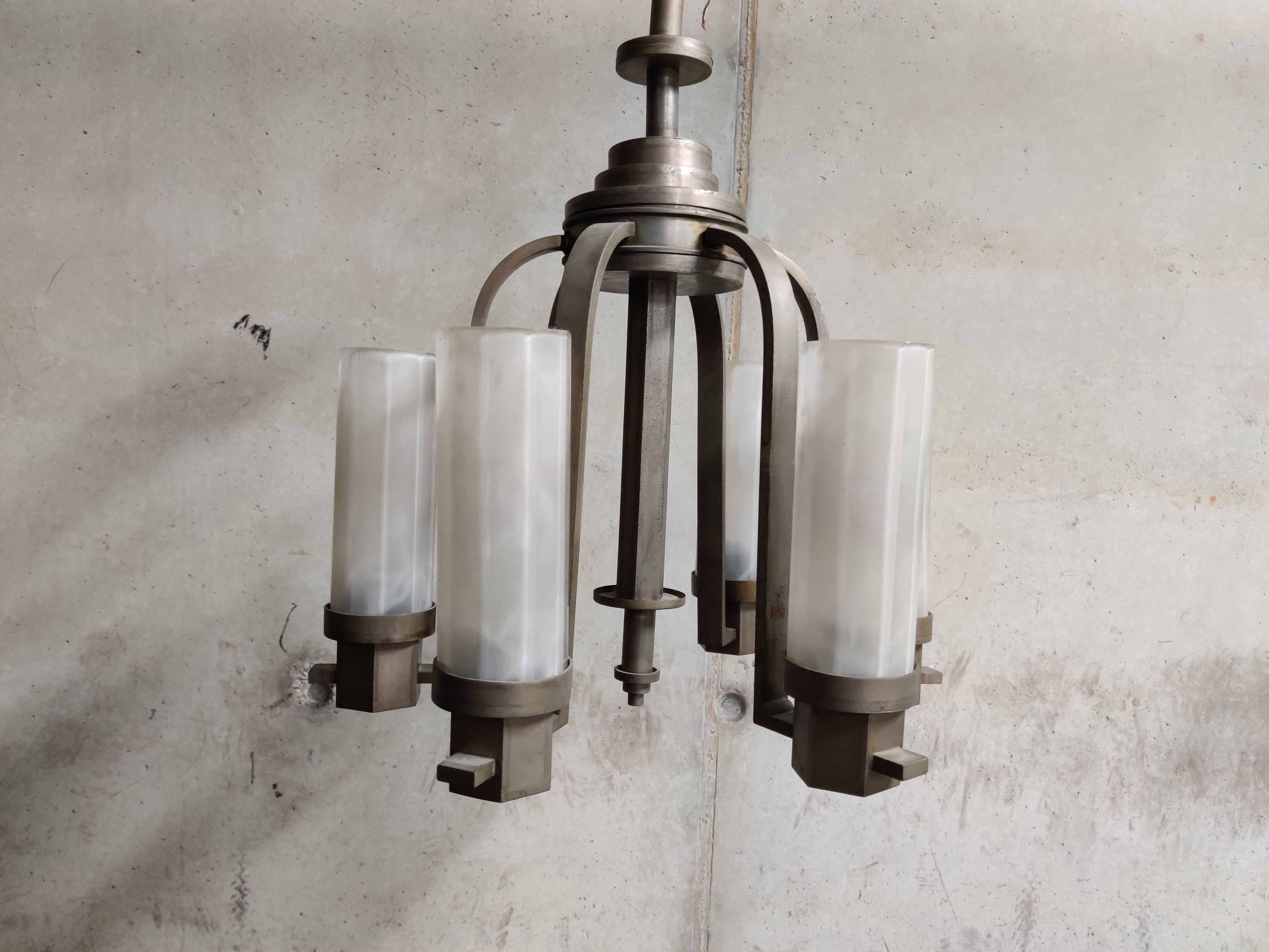 Picture of: Art Deco Chandelier With Frosted Glass Lamp Shades 1930s Vinterior
