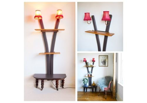 Antique Upcycled Wall Lamp & Shelving Unit