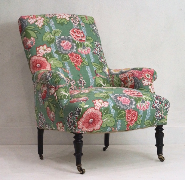 A French 19th Century Napoleon Iii Armchair   Linwood Belleville Louis Linen
